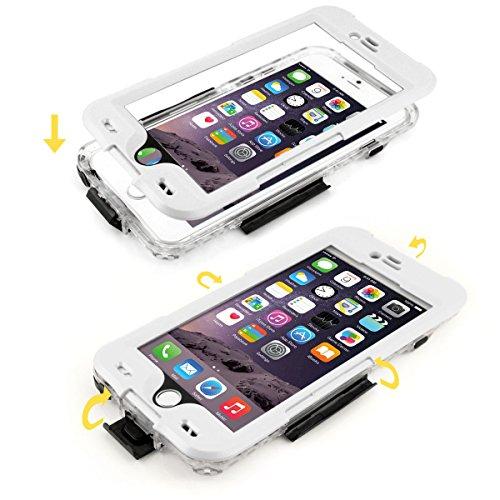 Alienwork Schutzhülle für iPhone 6 Plus/6s Plus geeignet für Fingerabdruck Hülle Case Bumper Wasserdicht Staubdicht Schneedicht Plastik weiss AP6P23-02