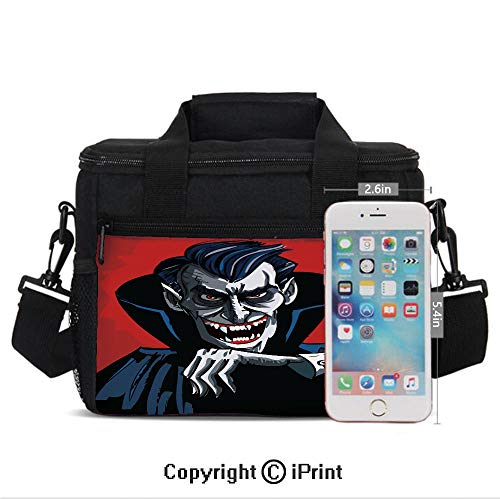 Insulated Lunch Bags For School With Bottle Holder Cartoon Cruel Old Man with Cape Sharp Teeth Evil Creepy Smile Halloween Theme Kids Lunch Box Snacks Tote Lunch Containers 3D Print Blue Red Grey ()