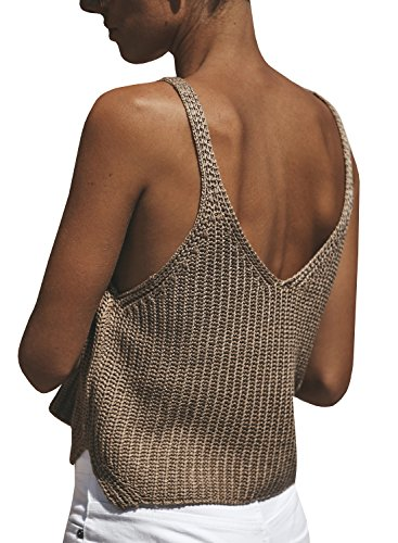 Ivay Women's Sleeveless Sweater Crop Top Solid Spaghetti Strap Knitted Tank by Ivay (Image #3)