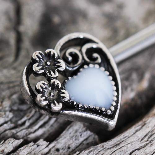 F11-036 Cocobul Pair of 316L Stainless Steel Steampunk Heart Nipple Bar