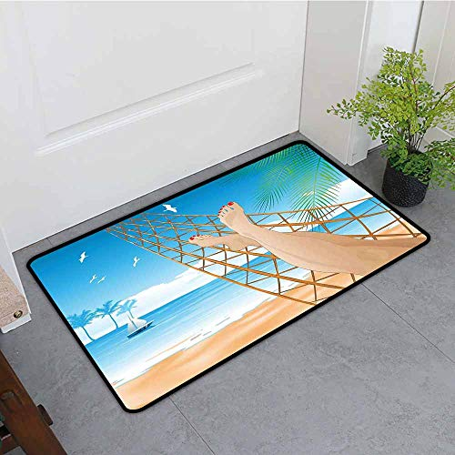 ONECUTE Outside Doormat,Tropical Legs of The Sexy Lady Laying in The Hammock Toward The Ocean in Hawaiian Tropical,Rustic Home Decor,35