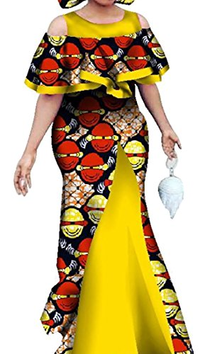 Ainr Des Femmes De Coton Sexy Épaule Froid Jabot Robe Maxi D'impression Traditionnelle Africaine 1