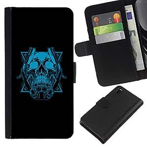 EJOY---La carpeta del tirón la caja de cuero de alta calidad de la PU Caso protector / Sony Xperia Z3 D6603 / --Azul del cráneo y Cuchillas