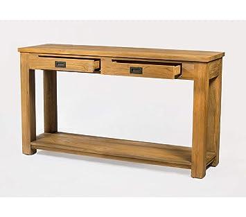 Wood-en-Stock Consola de Teca Maciza, 140 cm, Mueble de ...
