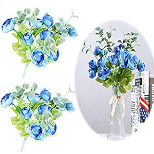 Camellia Artificial Flower, Small Tea Rose Bouquet Simulated Camellia Bride Holding Flowers Wedding Artificial FlowersThanksgiving Christmas Halloween Party Wedding DIY Deccor 2 Pack Blue(20CPS) 23