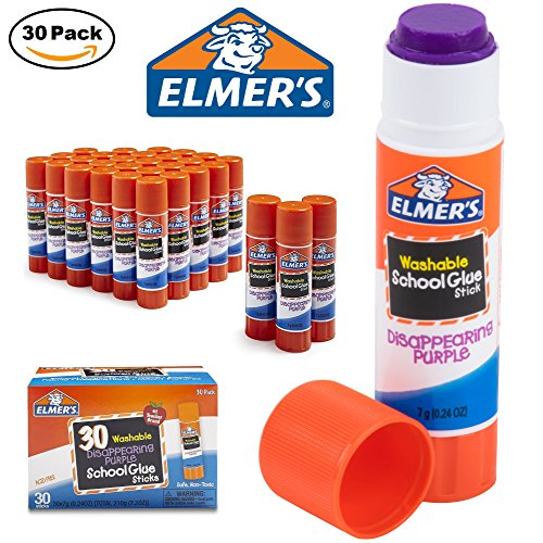 School Stick (Elmer's Disappearing Purple School Glue Sticks, Washable 30 Count (7g (E555)))