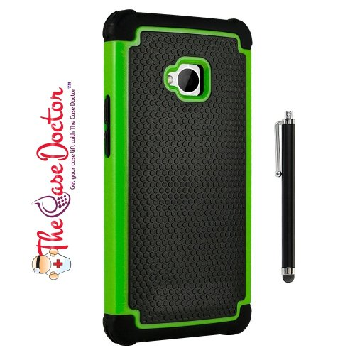 TCD for HTC ONE M7 [GREEN] Executive Armor Defender Series [HIGH IMPACT] Multi Layer [Hard/Soft Combo] TPU and Hard Plastic Shock Absorbent Case [SCREEN PROTECTOR STYLUS PEN]