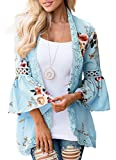 EachWell Women Floral Loose Bell Sleeve Kimono Cardigan Lace Patchwork Cover up Blouse Tops Sky Blue,S