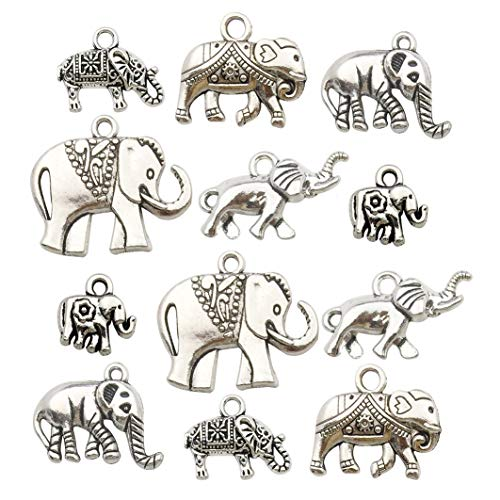 Charm Elephant - iloveDIYbeads 100g (About 42pcs) Craft Supplies Antique Silver Elephant Animals Charms Pendants for Crafting, Jewelry Findings Making Accessory for DIY Necklace Bracelet M153
