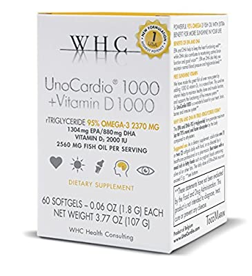 WHC - UnoCardio1000 + Vitamin D1000 (60 Softgels) - 2560 mg of pure Triglyceride fish oil with highest concentration omega-3 (2340 mg), 1304 mg EPA and 880 mg DHA and 2000 IU vitamin D3 per serving