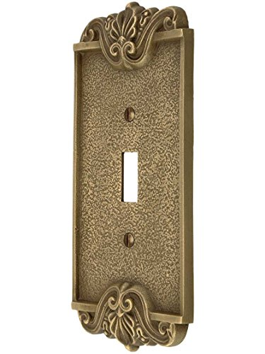 Art Nouveau Single Toggle Cover Plate In Antique-By-Hand Finish (Nouveau Single)