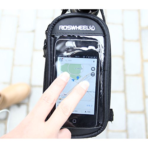 ArcEnCiel (TM) Bicycle Bike Cycling Frame Pannier Pouch Bag Front Tube Cellphone Holder with clear PVC Screen for Samsung Galaxy Note S3/S4/S5 iphone4 4S iphone 5/5s/5c HTC LG Lumia