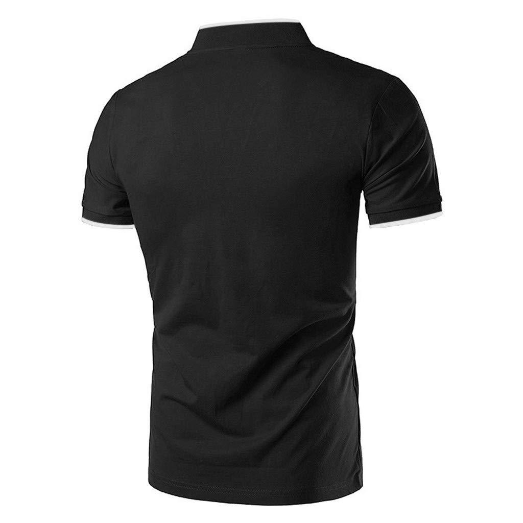 Kiasebu Men's Short Sleeve Moisture Wicking Performance Striped Solid Patchwork Stand Collar Golf Polo Shirt by Kiasebu_Men T-Shirts (Image #3)
