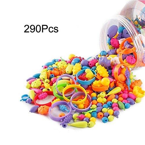 Kaqkiasiog 290 Pcs DIY Necklace Bracelet Art Crafts Pop Snap Beads Set Creative Jewelry Ring Bracelet Kit Gift Toys For Kids Girl Child