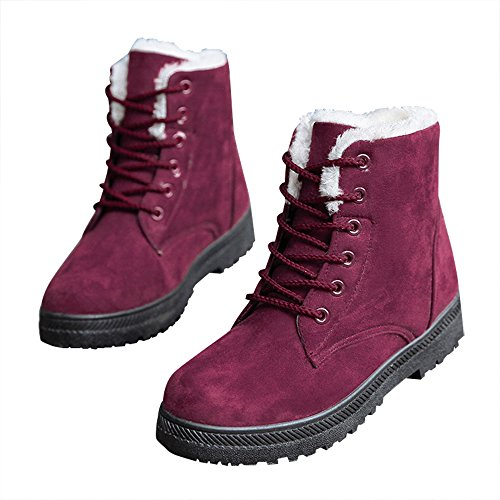 Lace Aa Boots Booties Fully Skid Resistant Warm Ankle Winter Women's Boots Snow Lined Red Up Optimal Fur wqaHvx