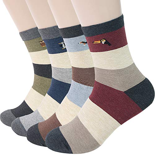 Men's Striped & Colorful Patterned Luxury Cotton Blended Dress Casual Socks - Calf Socks 4 Pack Collection (STR B)