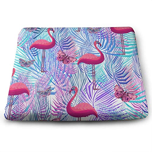 (Seat Cushion for Office Chair, Indoor Outdoor Square Seat Cushion - Flamingo Palm Leaf Butterflies Chair Pads Memory Foam Filled for Patio,Office,Kitchen,Desk,Travel,Kids,Yoga,Truck Driver,Car)