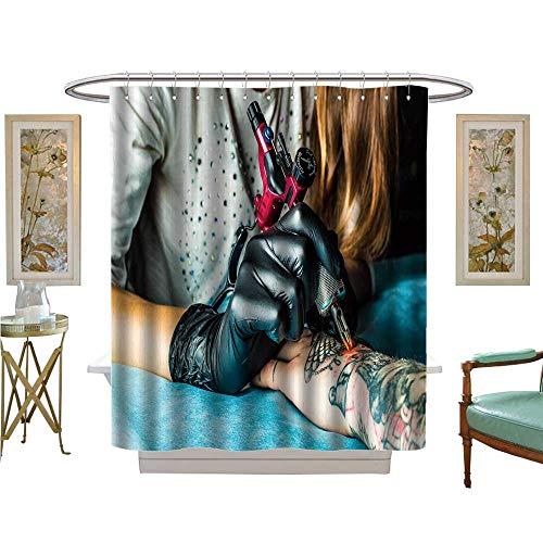 luvoluxhome Shower Curtains Waterproof Master Tattoo Draws The Orange Paint Clients Tattoo Tattoo Artist h a Pink Tattoo Satin Fabric Sets Bathroom W69 x -