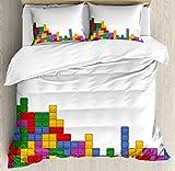 Boy's Room Duvet Cover Set Queen Size by Lunarable, Tetris Old Game Colorful Bricks Cubes Mosaic Form Vintage Technology Puzzle, Decorative 3 Piece Bedding Set with 2 Pillow Shams, Multicolor