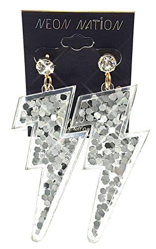 Lightning Bolt Earrings w/Glitter Sparkle Sequins Inside]()