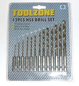Toolzone - Set de brocas hexagonales con recubrimiento de titanio (0,6 cm, 13 unidades)
