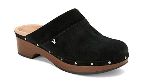 Vionic Women's Day Kacie Clog - Ladies Slip-on Mule with Concealed Orthotic Arch Support Black Suede 7 M US best women's clogs