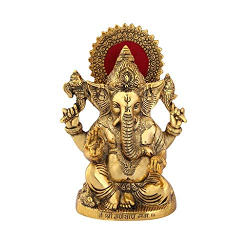 Handicrafts Paradise Ganesha showpiece Carved in Metal Antique Gold Plated