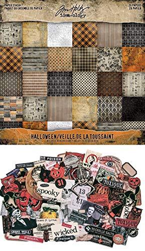 Tim Holtz Idea-Ology - Halloween Paper Stash Pad & Halloween Ephemera - Two Item Bundle -