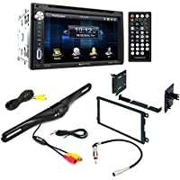Aftermarket Car Stereo Radio Double DIN In-Dash DVD/CD/AM/FM + Dash Mounting Installation Kit+ Radio Antenna Adapter + Night Vision Rear View Backup Color Camera