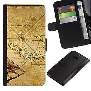 """Be-Star la tarjeta de Cr¨¦dito Slots PU Funda de cuero Monedero caso cubierta de piel Para HTC One M8 ( Mapa antiguo Breta?a Geograf¨ªa Eart Continente"""" )"""