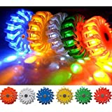 PF16LLM GREEN 9-FUNCTIONS PORTABLE 16 LED POWER FLARE POWER-MARKERS ROADSIDE EMERGENCY MAGNETIC CR123A BATTERY
