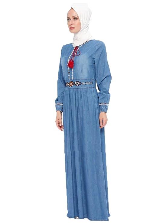922e2b480fb BÜRÜN Turkish Blue - Crew Neck - Unlined - Denim - Dresses (42)   Amazon.co.uk  Clothing