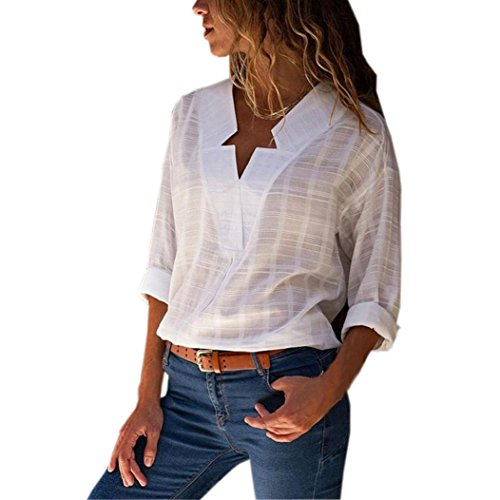 Women's Cotton Linen Blouse, E-Scenery Casual Solid Comfy V-Neck Long Sleeve T-Shirt Tops Shirts (White, X-Large)