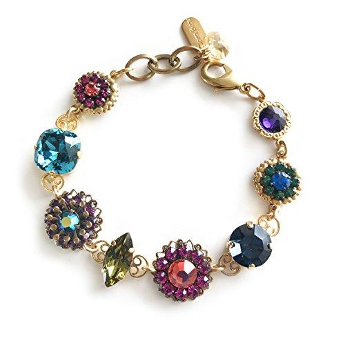 (Clara Beau Fabulous Multicolor Swarovski Crystal Mosaic GoldTone Filigree Bracelet B71 Mod)