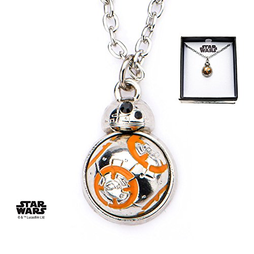 (Star Wars Jewelry Women's Episode 8 Base Metal BB-8 Spin Flat Back Pendant Necklace, Silver, One Size (SALES1SWMD))