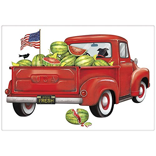 Mary Lake-Thompson Red Watermelon Truck Cotton Flour Sack Kitchen Towel (Towel Tea Stripe Nostalgic)