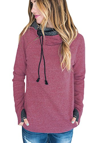 Astylish Womens Long Sleeve Heather Double Hooded Pullover Casual Sweatshirt Red Medium (Double Hooded Sweatshirt compare prices)