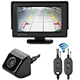 LeeKooLuu Wireless Rear View Backup Camera and Mirror Monitor Kit Universal Waterproof 1/4 Color CCD Imaging Chip Waterproof for all Truck / Car