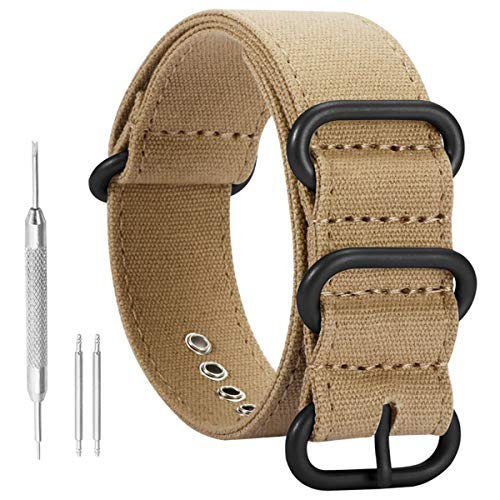 26mm Khaki Deluxe Premium NATO Style Sturdy Military Canvas Sport Men's Wrist Watch Band ()