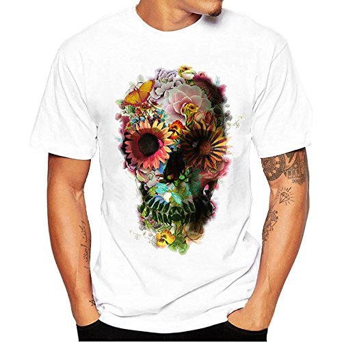 Hanaturu  tシャツ メンズ おしゃれ おもしろ 白 格好いいプリント柄 人気 花と髑髏 メンズプリントtシャツ 着心地いい 夏最適 ファション ホワイト 友達彼氏 プレゼント S-4L 大きいサイズ