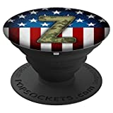 Patriotic Camouflage Monogram Z American Flag - PopSockets Grip and Stand for Phones and Tablets