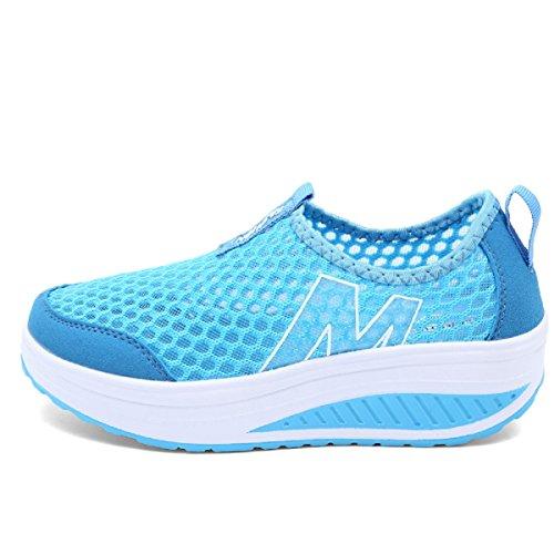 Rainrop Women Soft Sports Shoes Mesh Running Fitness Sneakers Slip On Platform Shoes Lightweight Outdoor Blue (Contour Light Blue Fabric)