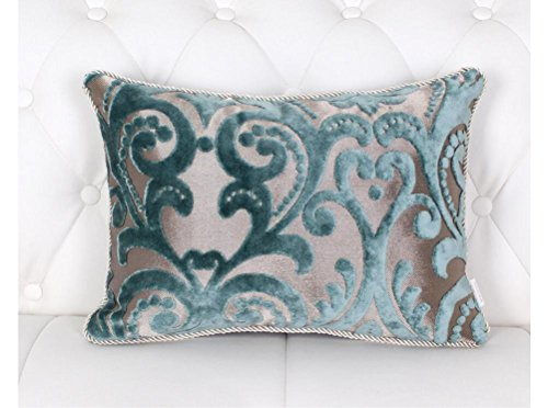 HYSENM 12x20 Inch Lattice Floral Patterns Rectangle Velvet Decorative Throw Pillow Case Sham Cushion Cover Soft Home Office Car Décor, Blue 12
