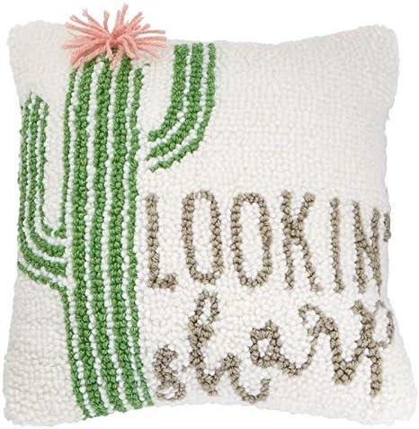 Mud Pie Lookin Sharp Cactus Pillow, White