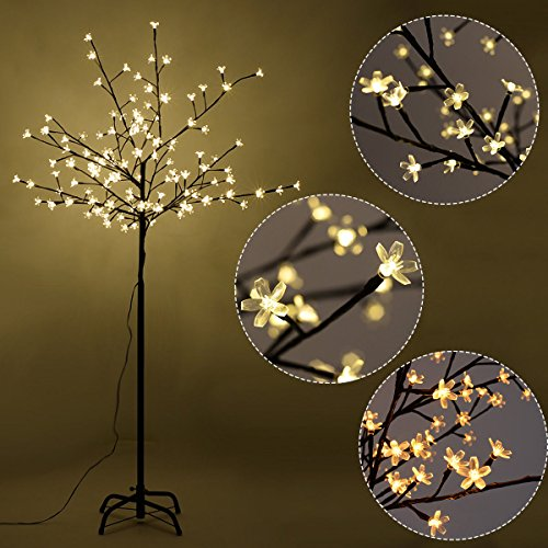 Furinho Bush - 6FT 160LED Christmas Xmas Cherry Blossom LED Tree Light Floor Lamp Holiday Decor Warm White YRS 1161