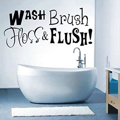 Dailinming PVC Wall Stickers Bathroom Rule Wash Brush Floss Flush Art Wall Sticker Quote Wall Decal 28X61CM