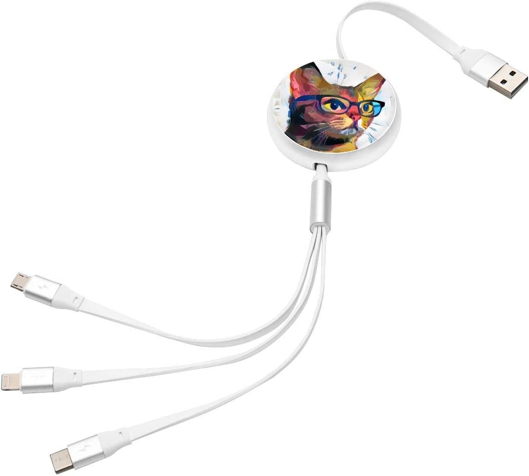 Cat with Glasses 3 in 1 Multiple USB Stretch Charger Cord with Micro,Type C,iOS Connectors with Cell Phone Tablets More