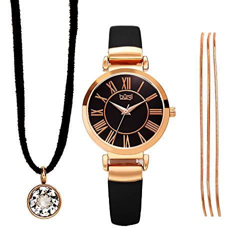 Burgi Women's Jewelry Gift Set - Black Leather Strap Watch, Swarovski Crystal Leather Cord Choker Necklace and Metal Strands Bracelet - BUR211BK-S