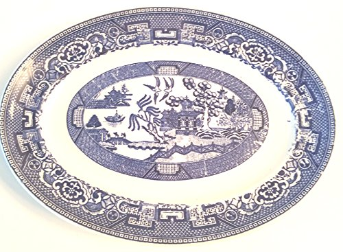Blue Willow Oval Serving Platter - Approx 7