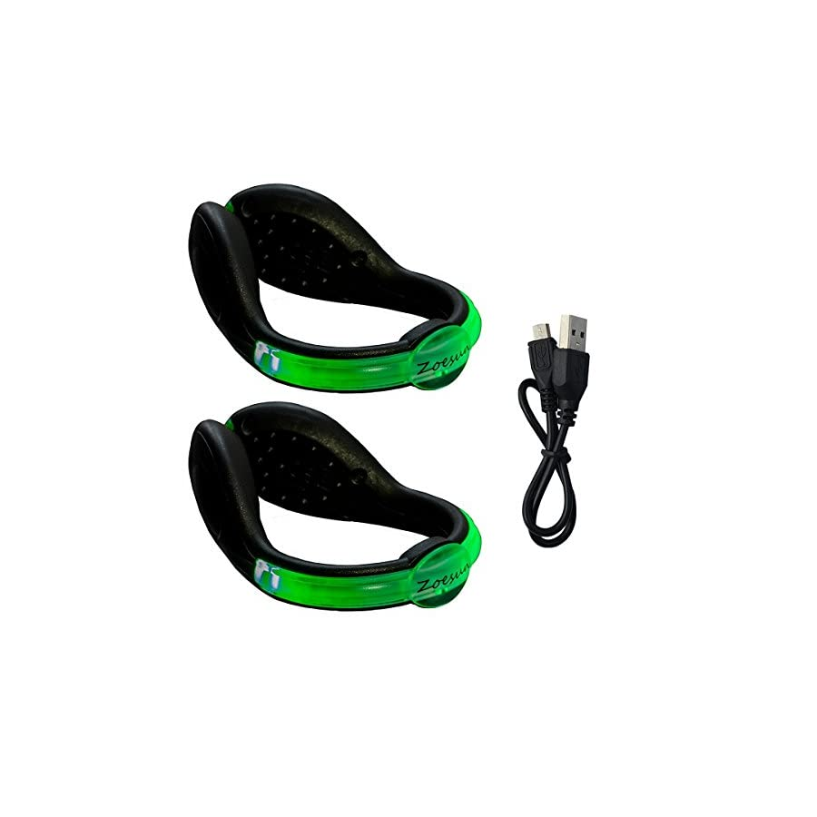 Zoesun Rechargeable LED Safety Light Flashlight for Runners Joggers Biker Walkers Light Up Shoe Clip Spur Reflective Gear for Running Cycling Biking Walking